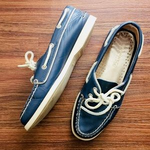 Sperry Top-Sider Womens Navy Leather Boat Shoes
